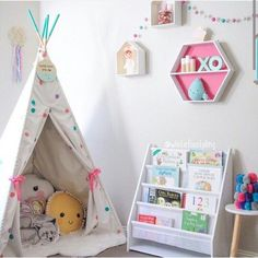 Kids corner, love the teepee filled with cushions. Kmart Australia style kids corner 25 Sweet Reading Nook Ideas for Girls Big Girl Bedrooms, Little Girl Rooms, Girls Bedroom, Bedroom Ideas, Book Corner Ideas Bedroom, Nursery Ideas, Childrens Bedroom, Trendy Bedroom, Bedroom Decor
