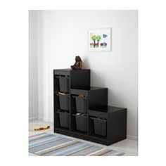 IKEA - TROFAST, Storage combination with boxes, , A playful and sturdy storage series for storing and organizing toys, sitting, playing, and relaxing.The frame comes with guide rails, so you can place boxes and shelves where you want them, and change them any time.Low storage makes it easier for children to reach and organize their things.