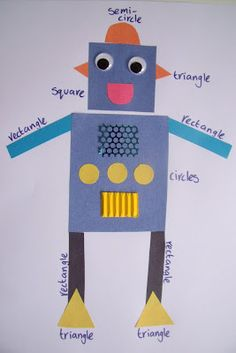 Robot collage to teach reinforce shape recognition and early maths - picture only (The Classroom Creative) Kindergarten Art, Math Classroom, Preschool Learning, Preschool Activities, Shape Activities, Preschool Shapes, Preschool Education, Early Learning, Teaching Shapes