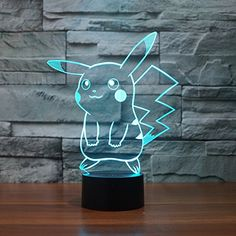 Must-have Pokémon Pikachu 3D nite lamp~ Kawaii!  buy now $19.99 Description Magical Panel 3D optical illusion bulbing LED light Features 1. 7 Color change: Red, Green, Blue, Yellow, Cyan, Pink, White 2. Touch button: Press one time, one color light up, press it again, it turns off. Press it thirdly, another color light up. 3. Automatically color changing mode. Press the touch …