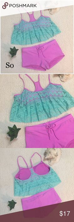 Flounce Bikini mint and pink Very cute eyelet flounce top bikini with boy short bottoms. Worn a couple of times and very clean no flaws. Top is XL, bottoms are L SO Swim Bikinis