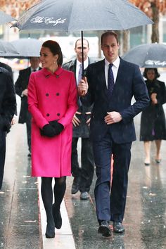 Of course this is how Kate Middleton looks in a downpour. While we were trekking to and from work in clunky rain boots, Kate still managed to look camera-ready in a magenta Mulberry coat (that has since sold out) and heels. We found a similar and less expensive style for you to shop here.