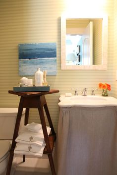 Habitually Chic®: Twinsies; linen skirted sink