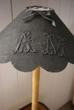 Uses for old family linens and lace - Beautiful Monogrammed Shade xx Abbat Jour, Old Sheets, Shabby Chic Crafts, Vintage Monogram, Embroidery Monogram, Linens And Lace, Antique Lace, Monogram Letters, Lamp Shades