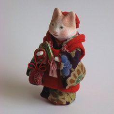 縮緬福猫 被布