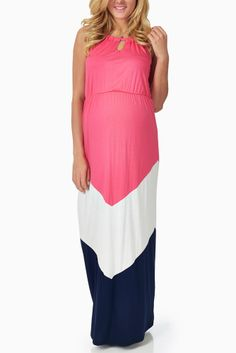 Green White Navy Blue Colorblock Maternity Maxi Dress | Maternity ...