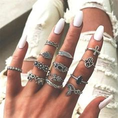 Style:RetroColor:SilverMaterial:AlloyThis ring set comes with a retro yet classic silver tone,including 14 pieces different rings,which canembellish your charming and slender fingers as well as enrich your overall look. Bohemian Rings, Vintage Bohemian, Hippie Rings, Bohemian Style, Gypsy Rings, Bohemian Fashion, Boho Chic, Opal Rings, Silver Rings