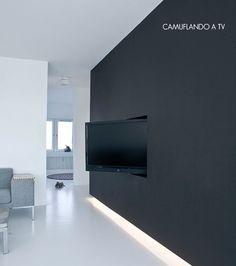 black wall + hidden tv