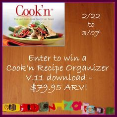 Enter to #win a download of Cook'n Recipe Organizer v.11 ($79.95 ARV)! Imports your recipes from Pinterest, Facebook, and websites; captures scanned and printed recipes; creates a custom shopping list based on your Visual Menu Planner; and so much more! #Giveaway ends March 7.