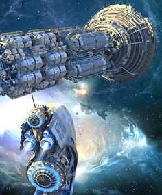 Cargo Ship and Escort Ship in Interplanetary Space.  #Spaceships  #Starships