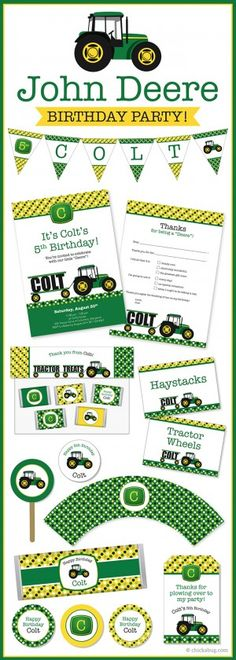 John Deere tractor theme party! Invitations, water labels, stickers, DIY party printables and lots more from Chickabug.com