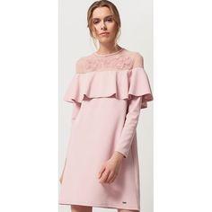 Mohito - Sukienka z falbaną i koronką - Różowy