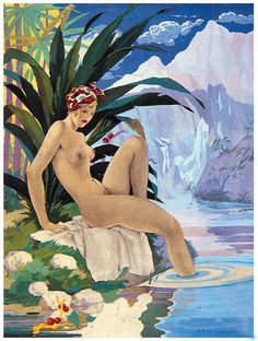 ART DECO POSTER of LADY BATHER BY POOL Circa 1920's