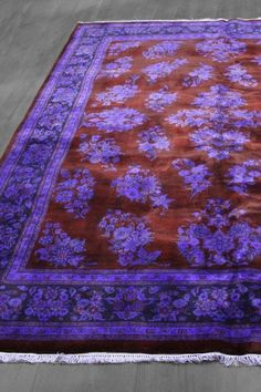 Over-Dyed Floral Persian Design Wool Rug - Purple/Deep Red - 7ft. 10in. x 9ft. 10in. by Imported Over-Dyed Luxury Rugs on @HauteLook