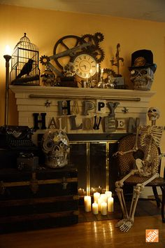 Old gears, antique items and metal on metal make for the perfect steampunk Halloween. Add a few macabre decorations like skulls or skeletons to complete the look. See how designer Lynn Ferris did it on The Home Depot Blog.