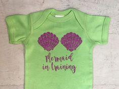 Mermaid in Training Shells Glitter in lavender baby bodysuit