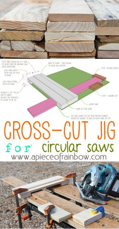 Useful Hack: Make a simple cross cut jig for your circular saw and it will cut pieces of the same length like a table saw!!  | A Piece of Rainbow