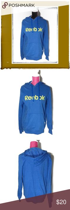SALE REEBOK Blue & Neon Lime Green Pullover Hoodie Womans / Unisex Blue & Lime Green Reebok Size M Sweatshirt Hoodie. Worn only a few times so it is still in very good condition.  It fits true to size.//Check out my other listings for more one of a kind Handmade & Vintage Treasures! If you like the item,not the price, place an offer! To bundle,select each item you want,click add to bundle,then you can go to your bundles & purchase/place an offer for the bundle! Reebok Tops Sweatshirts…