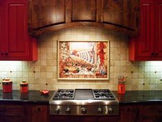Mexican Tile Murals – Chili Pepper Kitchen Backsplash Mural and touches of red on the cab.