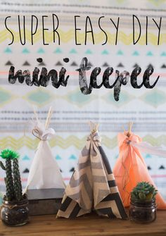 You won't believe how easy these mini teepees are to make! Perfect for decor at a birthday party, in a nursery, or Barbies dream teepee! DIY and no-sew!