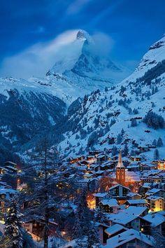 Twilight over Zermatt with the Matterhorn beyond, Switzerland. I loved Zermatt! Zermatt, Dream Vacations, Vacation Spots, Places To Travel, Places To See, Travel Destinations, Wonderful Places, Beautiful Places, Winter Szenen