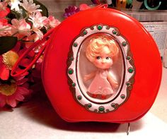 Retro Liddle Kiddle Type 1960's Red Round Purse with Doll - Vintage RARE - Popular Kiddle Knock Offs 1960's -1970's'