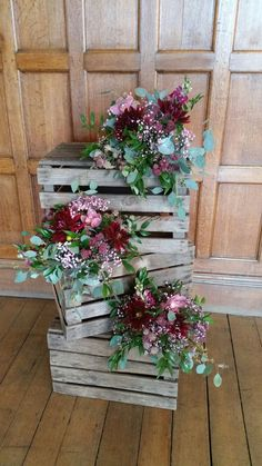 Large stacked apple crates with floral arrangements - to go on the stage area either side of the two of you