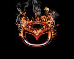 Mazda in burn logo