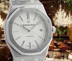 """""""Savory Got Fancy! #AudemarsPiguet 41mm Royal Oak White Dial Ref#: 15400ST.OO.1220ST.02 ($14,975.00 USD) http://www.elementintime.com/Audemars-Piguet-Royal-Oak-15400ST.OO.1220ST.02-Stainless-Steel-White-Dial"""