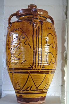 Large Storage Jar with Four Handles, 2013,  Slip decorated earthenware.  Clive Bowen at 70 - The Scottish Gallery, Edinburgh - Contemporary Art Since 1842