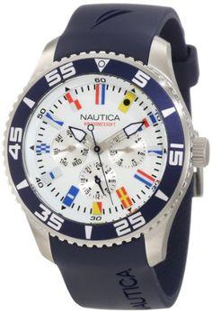 "cool Nautica Men's N12627G NST 07 ""Flags"" Stainless Steel Watch  –"