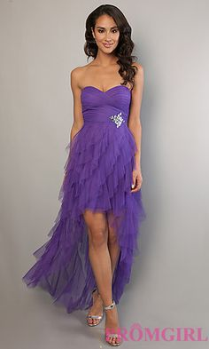 Strapless Sweetheart Layered Ruffle High Low Dress at PromGirl.com