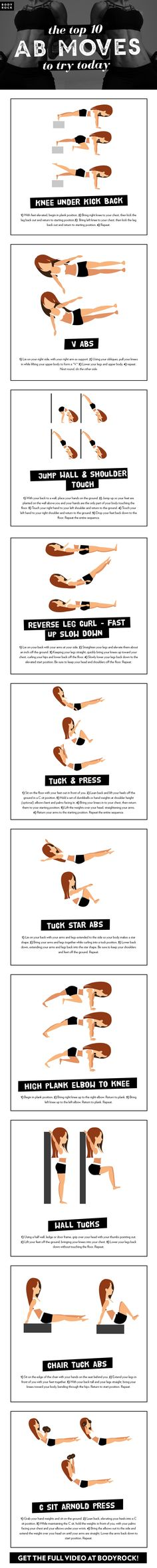 The top ten ab moves to try today. Add these to your next workout to get those killer abs!