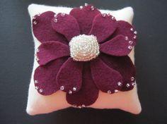 Ring Bearer Pillow Wedding Purple Ivory zinnia flower choose your colors #ringbearerpillow  by ArtisanFeltStudio, $42.00