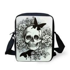 Retro women messenger bags new designer ladies handbags punk skull printed high quality mochila mujer rock femail crossbody bag