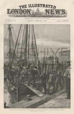 The loss of the North German Lloyd steam-ship Elbe; Landing of survivors at Lowesoft. Published by The Illustrated London News, feb 9, 1895.