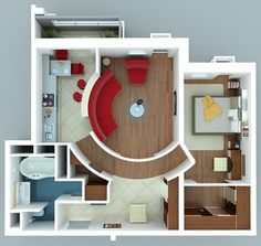 This one bedroom apartment looks like something out of the future with curved seating and walls in a large central living area, a modern kitchen, a large contemporary bathroom with whirpool tub, and luxurious hardwood details in the master bedroom and wardrobe. Very unique!