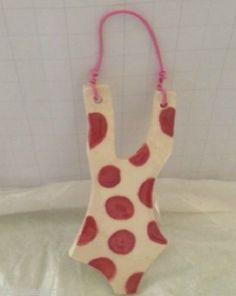 Bathing Suit Ornament Wall Hanger Pink Polka Dots Handmade Savannah GA Beaches