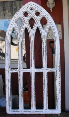 Cathedral Windows Wood And Metal Shabby Vintage