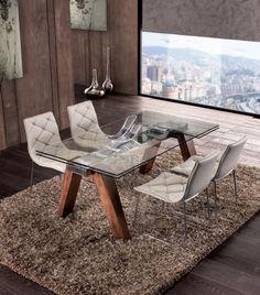 Table de salle à manger rectangulaire contemporaine avec rallonge VIENNE, avec plateau en verre