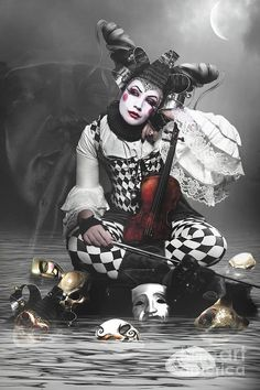 Superb circus costume fashion, hair and make up style, cos, at roll up circus the clown sisters are doing it for themselves, times up gents! Dark Circus, Circus Art, Circus Theme, Fantasy Kunst, Fantasy Art, Arte Punch, Pierrot Clown, Bd Art, Circo Vintage