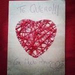 Carpeta, postal con mensaje de #amor #manualidad #romántica #corazón de hilos