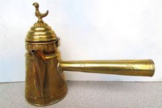 ANT. ORNATE TURKISH / ARAB 1 2/3 CUP BRASS COFFEE POT