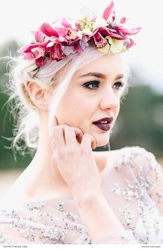 Bold floral crown with dark makeup and soft purple dress Bridal Accessories, Hair Pieces, Paper Goods, Daydream, Beautiful Bride, Pantone, The Dreamers, Veil, Floral Design