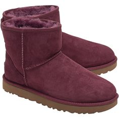 UGG Classic Mini Pink // Short lamb shearling boots ($185) ❤ liked on Polyvore featuring shoes, boots, water-resistant boots, ugg, pink boots, short boots and water resistant shoes