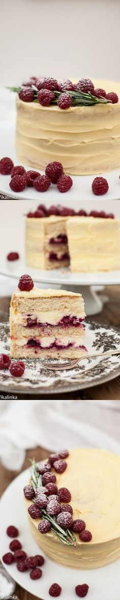 Delicate vanilla cake layers filled with mascarpone cream and raspberry compote and covered with white chocolate buttercream. Oh MY!