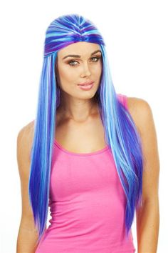 DELUXE BluePurple Plaited Costume Wig - Allaura Brand This is an amazing very high quality wig, it looks and feels spectacular!  This is a high quality long straight multicoloured blue/purple wig, with a half up half down hairstyle with the back being fish plaited. Absolutely beautiful colours and design. Perfect for any cosplay costume. www.thewigoutlet.com.au