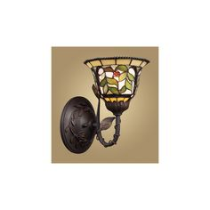 Westmore Lighting Latham 7-in W 1-Light Tiffany Bronze Tiffany-Style Arm Hardwired Wall Sconce