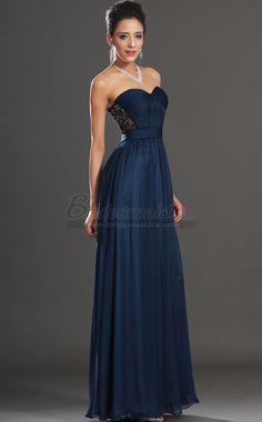 #bridesmaiddresses Sweetheart Neckline Long Silk Like Chiffon Ink Blue Bridesmaid Dress JT-CA1425