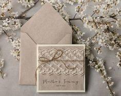 wedding invitation grey recycling paper ecru lace wedding invitation pocket fold rustic invitation